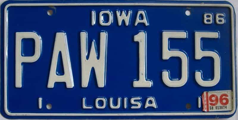 1996 Iowa (Single) license plate for sale