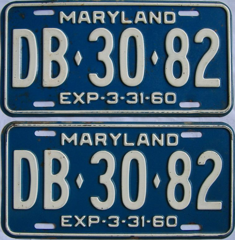 1960 Maryland (Pair) license plate for sale