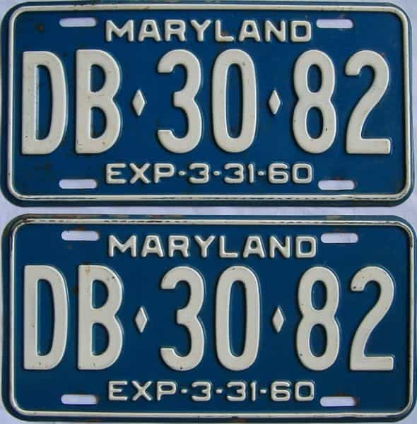 1960 MD (Pair) license plate for sale