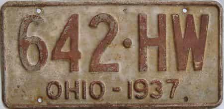 1937 Ohio (Single) license plate for sale