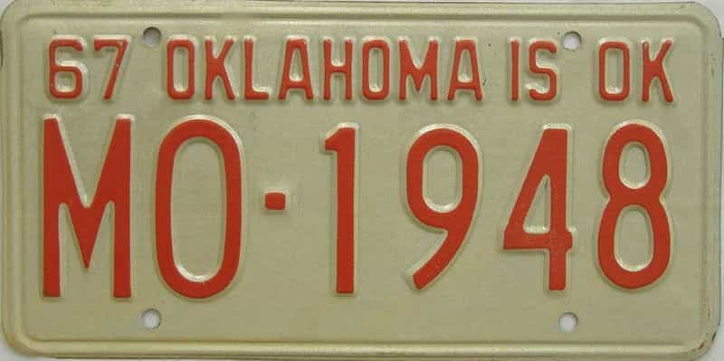 1967 OK license plate for sale