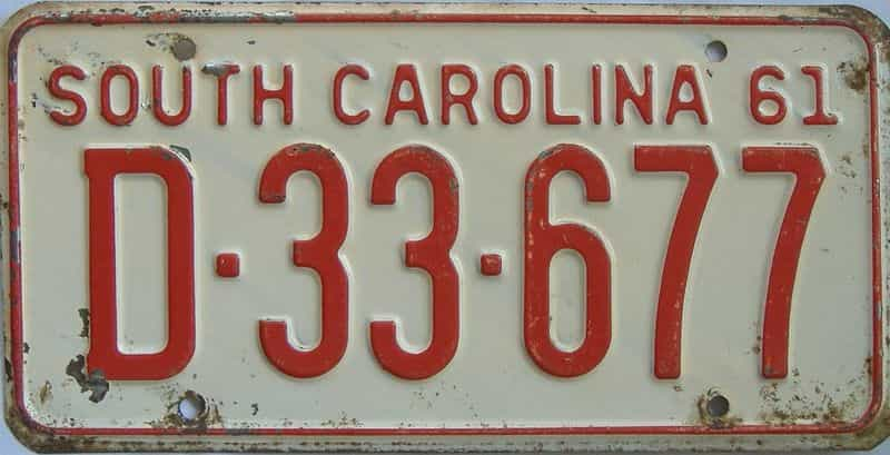 1961 SC license plate for sale