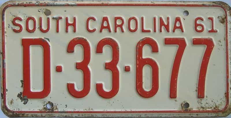 1961 South Carolina (Single) license plate for sale