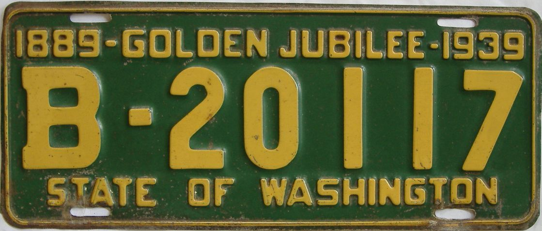 1939 Washington (Single) license plate for sale