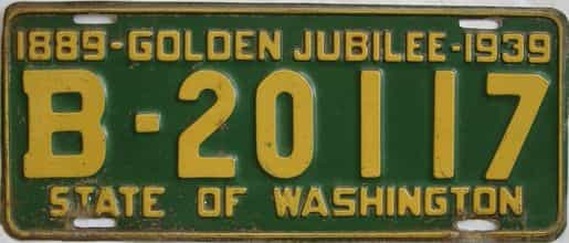 1939 Washington (Single) license plate for sale