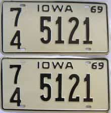1969 Iowa  (Pair) license plate for sale