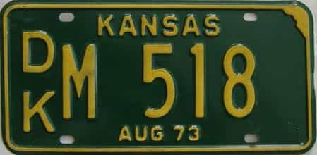 1973 Kansas license plate for sale