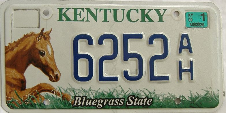 2009 Kentucky license plate for sale