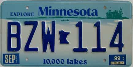 1999 Minnesota (Single) license plate for sale