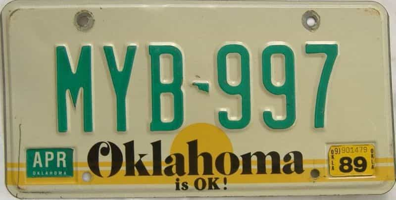 1989 OK license plate for sale