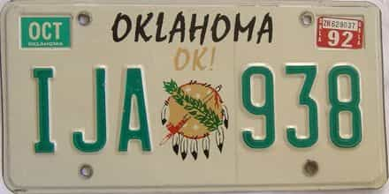 1992 Oklahoma license plate for sale