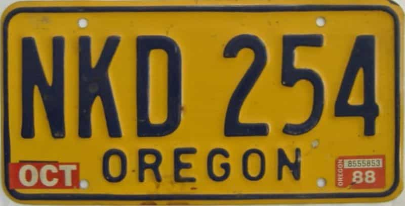 1988 Oregon (Natural Single) license plate for sale