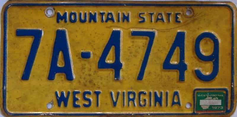 1973 West Virginia license plate for sale