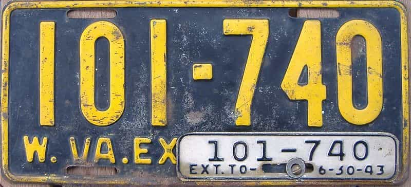 1943 WV license plate for sale