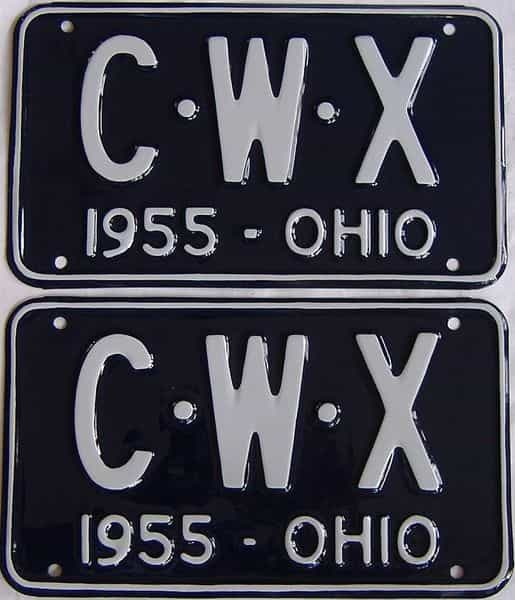 RESTORED 1955 OH (Pair) license plate for sale