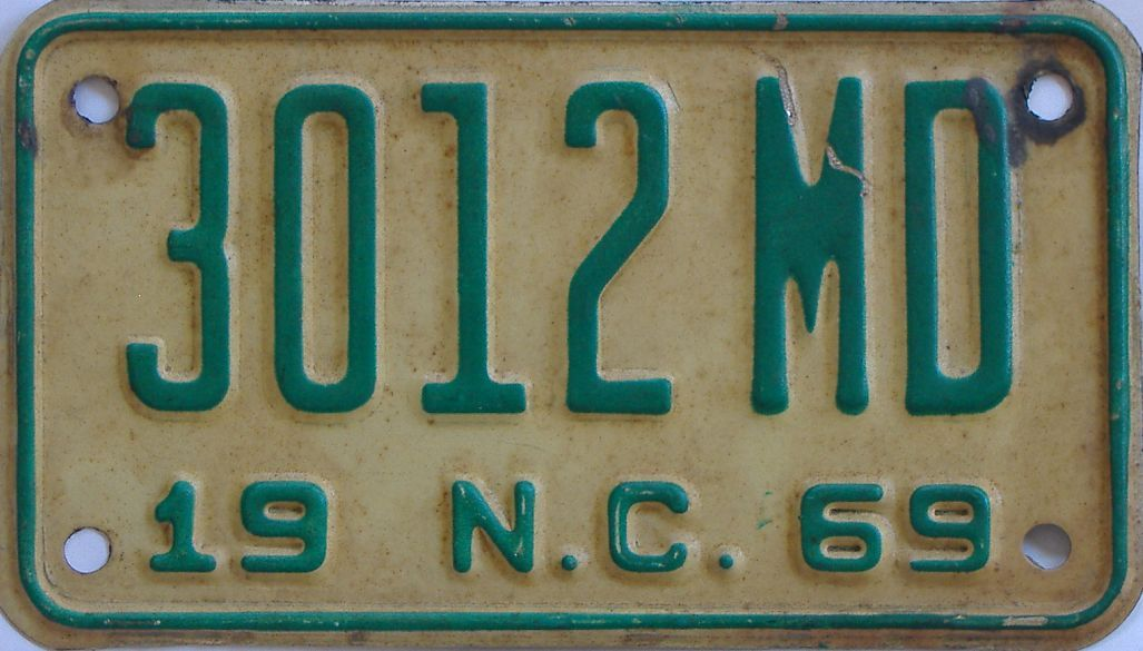 1969 North Carolina (Motorcycle) license plate for sale