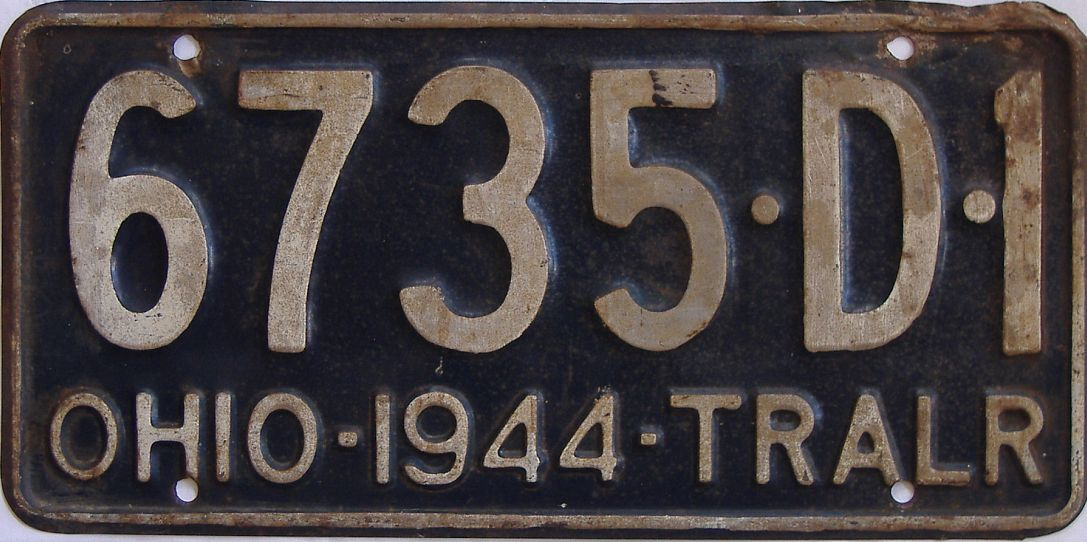 1944 Ohio (Trailer) license plate for sale