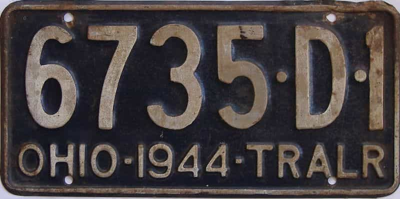 1944 OH (Trailer) license plate for sale