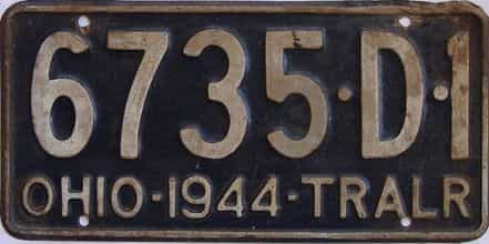 1944 Ohio  (Trailer) license plate for sale