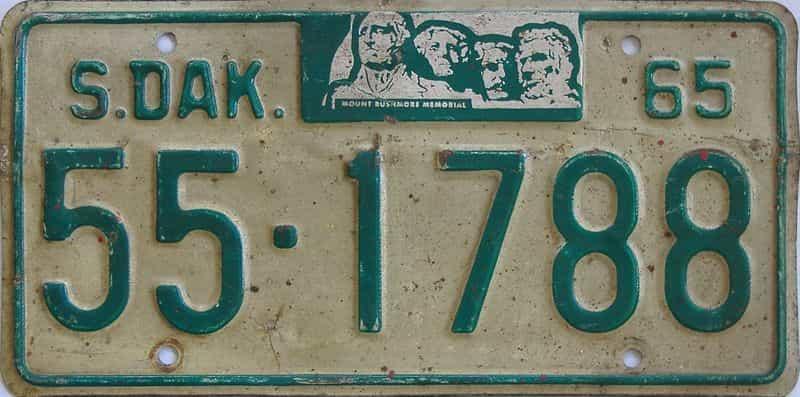 1965 South Dakota (Single) license plate for sale