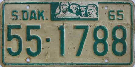 1965 South Dakota (Single) license plate for sale