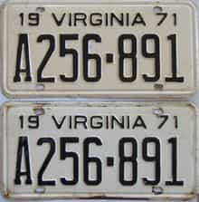 1971 Virginia (Pair) license plate for sale