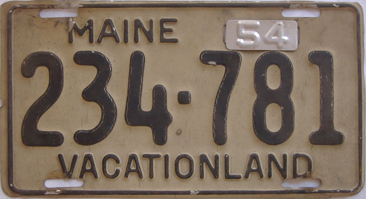 1954 Maine (Single) license plate for sale