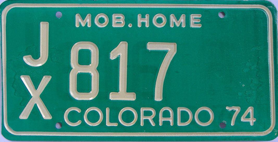 1974 Colorado (Non Pass) license plate for sale