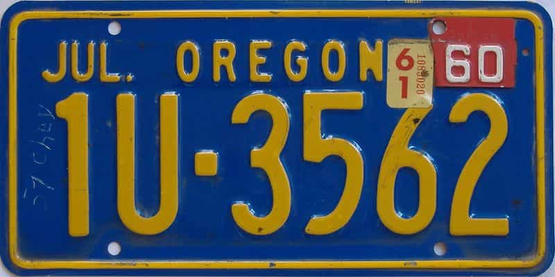1961 OR (Single) license plate for sale