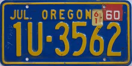 1961 Oregon (Single) license plate for sale