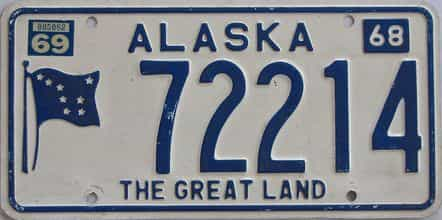 1969 Alaska (Single) license plate for sale