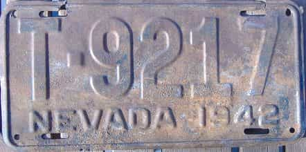 1942 Nevada (Truck) license plate for sale