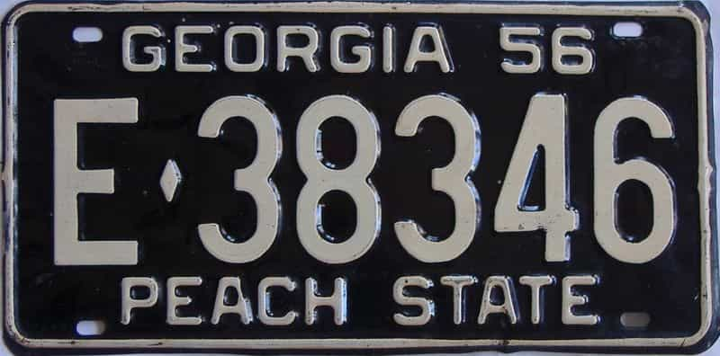 YOM 1956 GA license plate for sale