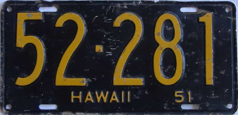 1951 Hawaii (Single) license plate for sale