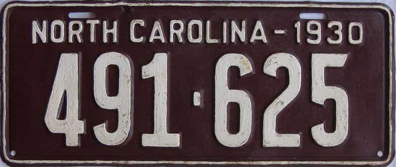 1930 NC (Amatuer Repaint) license plate for sale