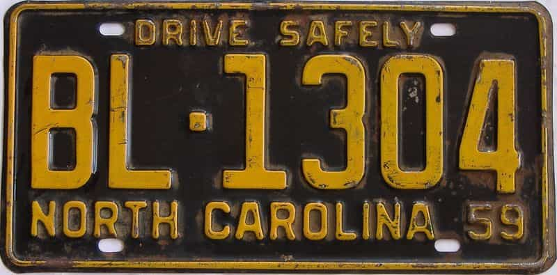 1959 NC license plate for sale
