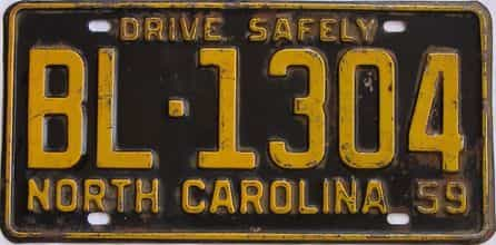1959 North Carolina license plate for sale