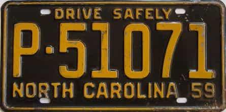 1959 North Carolina license plate for sale