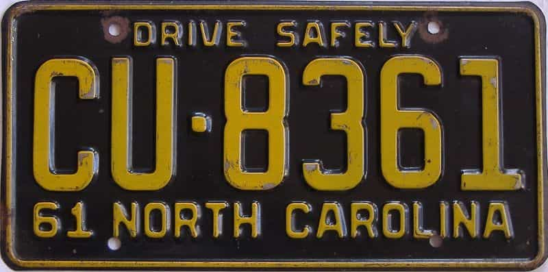 1961 North Carolina license plate for sale