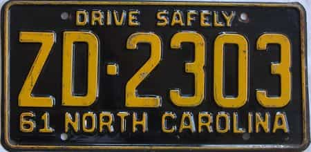 1961 North Carolina license plate for sale