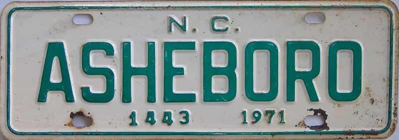 1971 NC (Non Passenger) license plate for sale