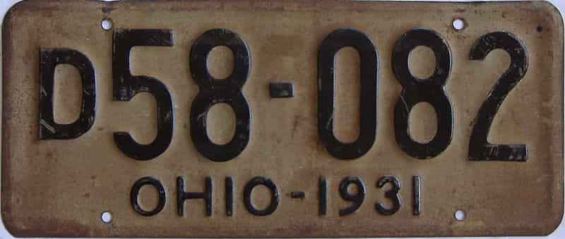 1931 Ohio (Single) license plate for sale