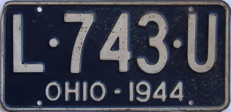 1944 OH license plate for sale
