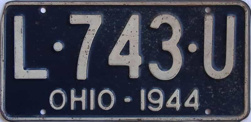 1944 Ohio license plate for sale