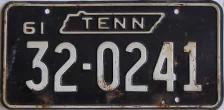1961 Tennessee (Single) license plate for sale