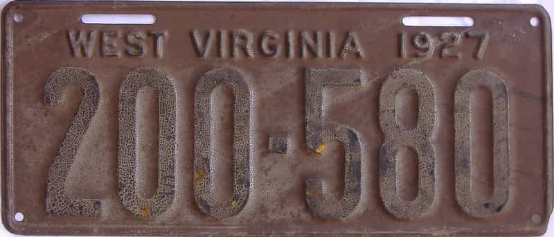 1927 West Virginia (Single) license plate for sale