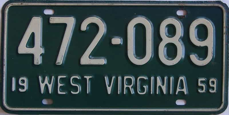 1959 WV license plate for sale