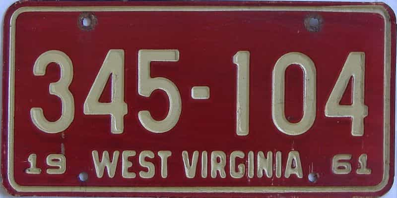 1961 WV license plate for sale