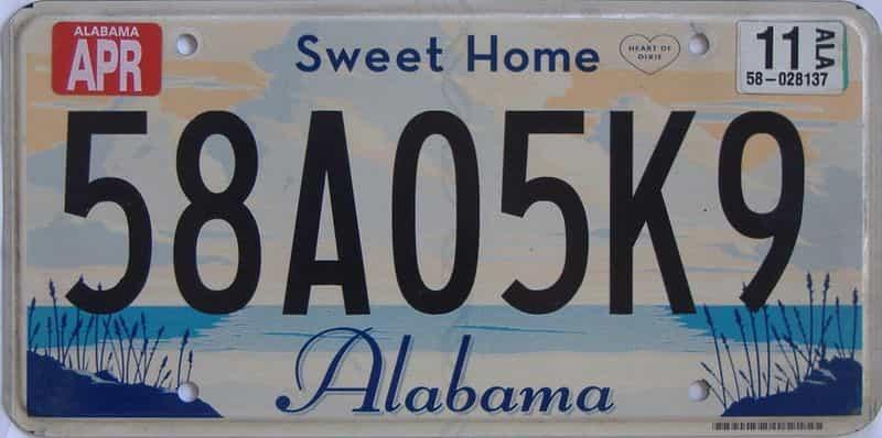 2011 Alabama license plate for sale