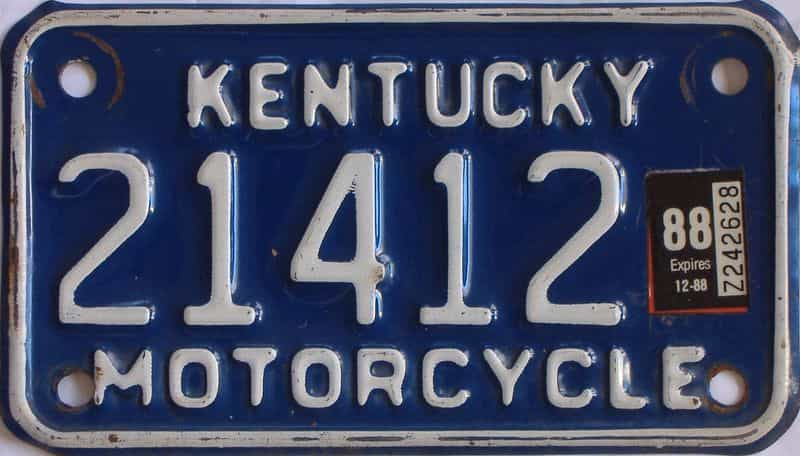 1988 Kentucky (Motorcycle) license plate for sale